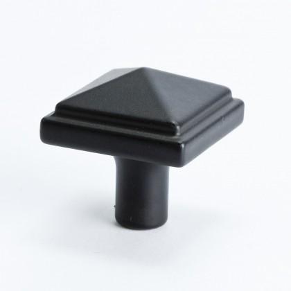 "Square Knob (Satin Black) - 1 3/16"""