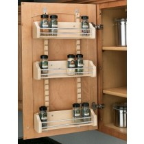 "18"" Adjustable Door Mount Spice Rack, Wood"