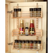 "21"" Adjustable Door Mount Spice Rack (Wood)"