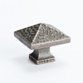 "Hammered Square Knob (Dark Copper) - 1 1/4"""