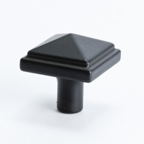 Square Knob (Satin Black) - 1 3/16""