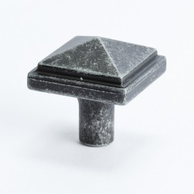 Square Knob (Weathered Iron) - 1 3/16""
