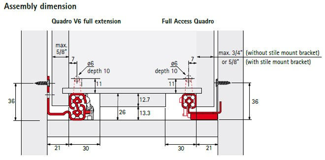 Hettich Quadro V6 Full Extension Under Mount Soft Close